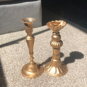 Gold candlestick holders (2)